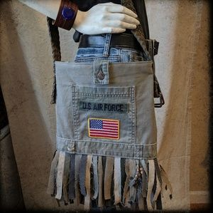 Handbags - Upcycled Denim Fringe Bag US Air Force